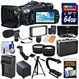 Canon Vixia GX10 Wi-Fi 4K Ultra HD Digital Video Camcorder with 64GB Card + Battery + Hard Case + 3 Filters + LED + Mic + Tripod + Tele/Wide Lens Kit