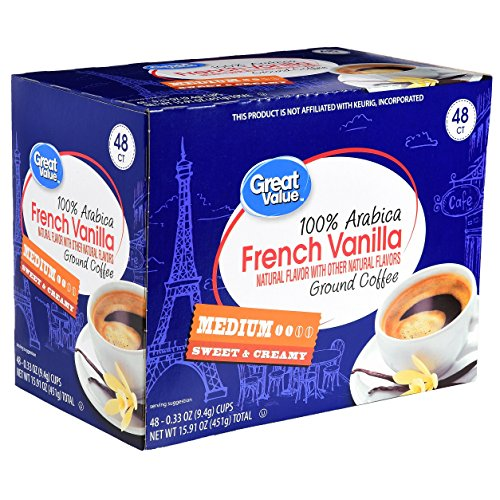 Great Value Pack (Great Value Light Roast 100% Arabica Coffee K-Cup Packs, French Vanilla, 48 Ct (Pack of 1))