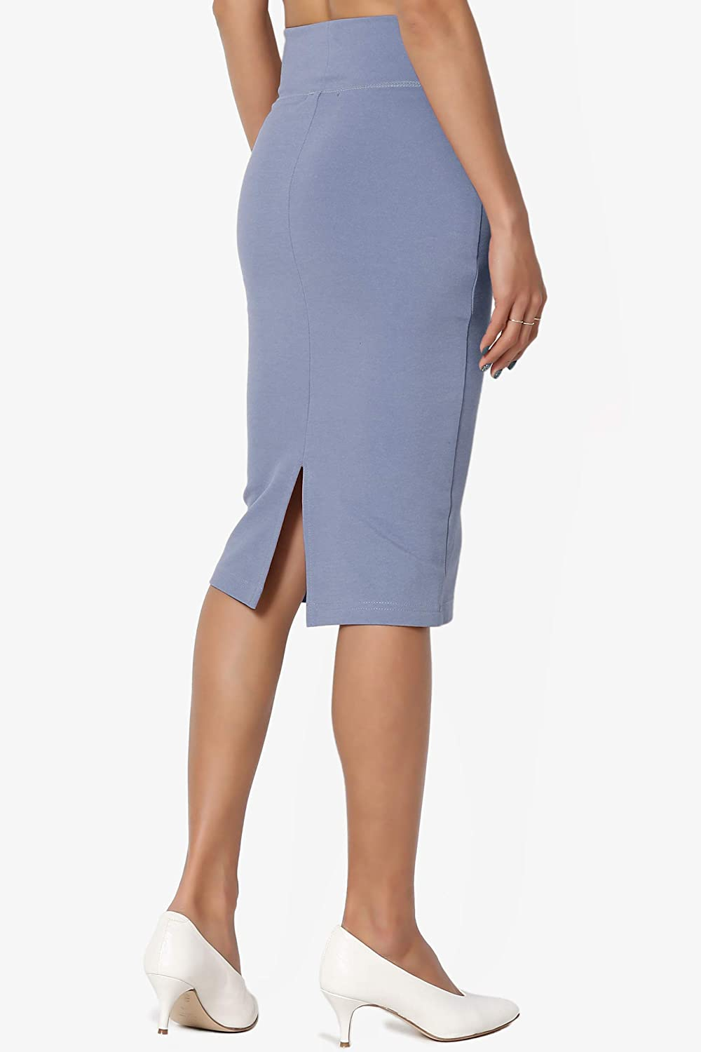 823602960e578 TheMogan 4 Way Stretch Curvy Ponte High Waist Knee Length Midi Pencil Skirt  at Amazon Women s Clothing store
