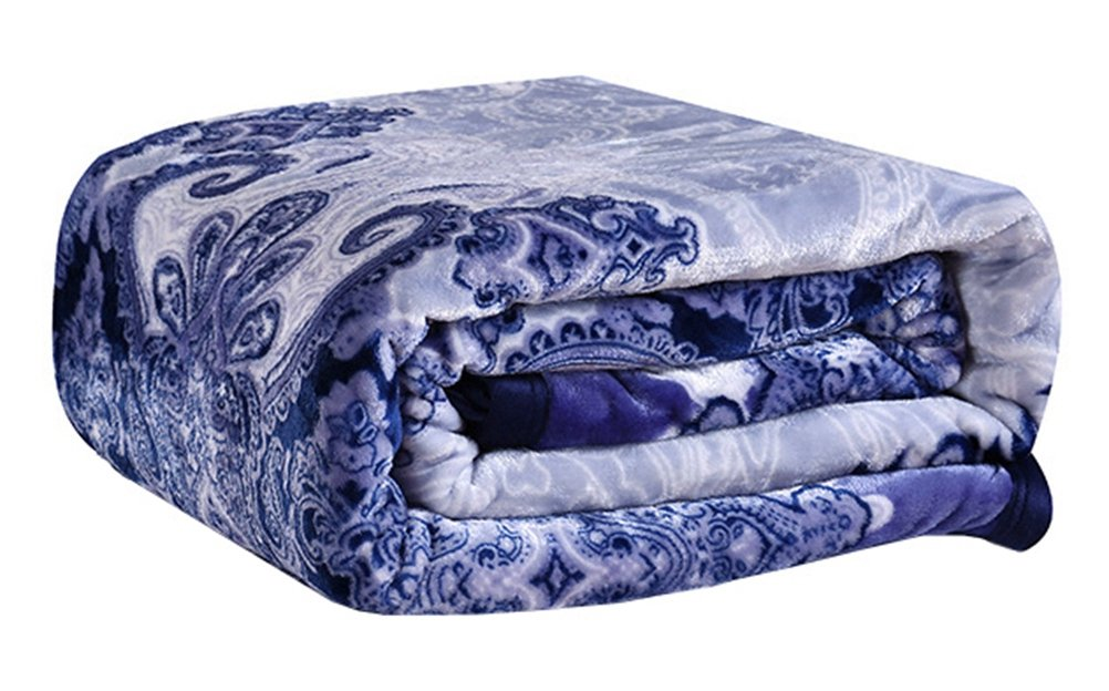 Blue and White Porcelain Flannel Bed Blanket LivebyCare Extra Soft Warm Plush Thicken Fluffy Bedding Blankets 47 x 79 inches