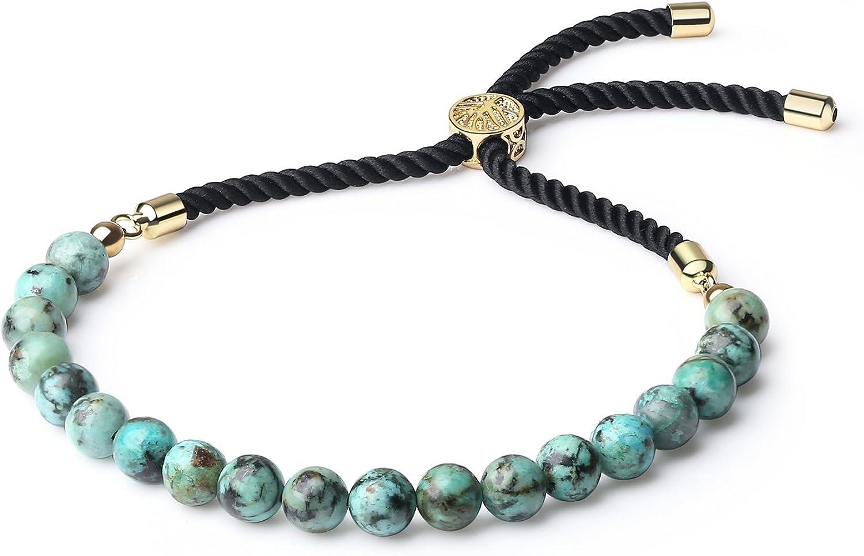 COAI Pulsera para Mujer Ajustable con Piedra Natural y Cordón Espiral de Nylon con Cierre Amuleto Árbol de la Vida