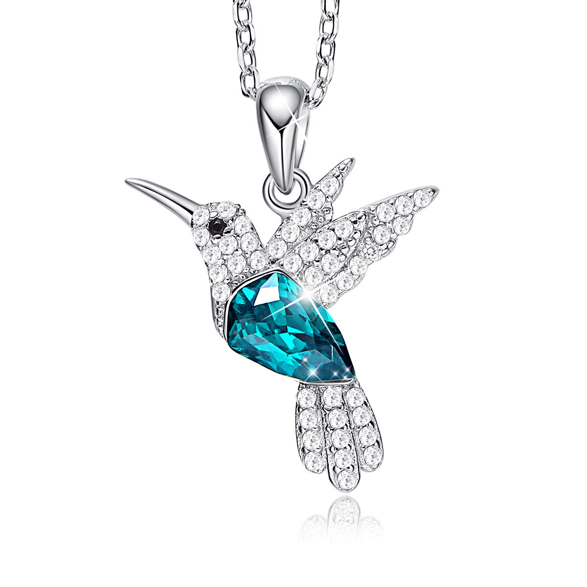 CDE S925 Sterling Silver Necklace Woman Swarovski Crystals Pendant Necklaces Hummingbird Fine Jewelry Gift for Her