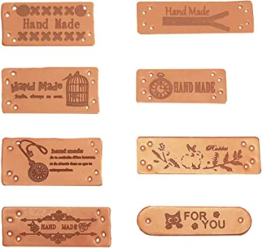 clothes 6 x mini Hand Made labels PU leather tags Crafts sewing knitting
