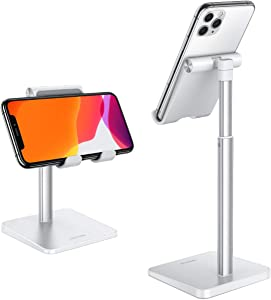 Cell Phone Stand, OMOTON Adjustable Angle Height Desk Phone Dock Holder for iPhone SE 2/ 11 / 11 Pro / XS Max/ XR, Samsung Galaxy S20 / S10 / S9 / S8 and Other Phones (3.5-7.0-Inch),Silver