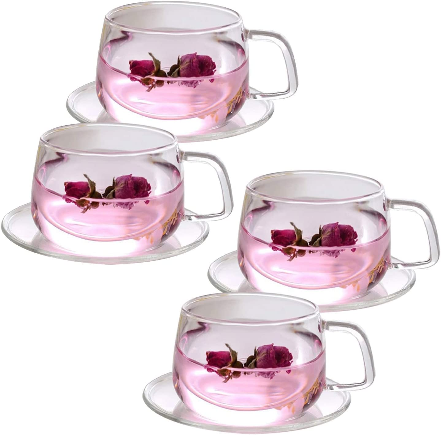 Amazon Com Tosnail 4 Pack 11 Ounce Clear Glass Tea Cups And Saucers Sets Cup Saucer Sets