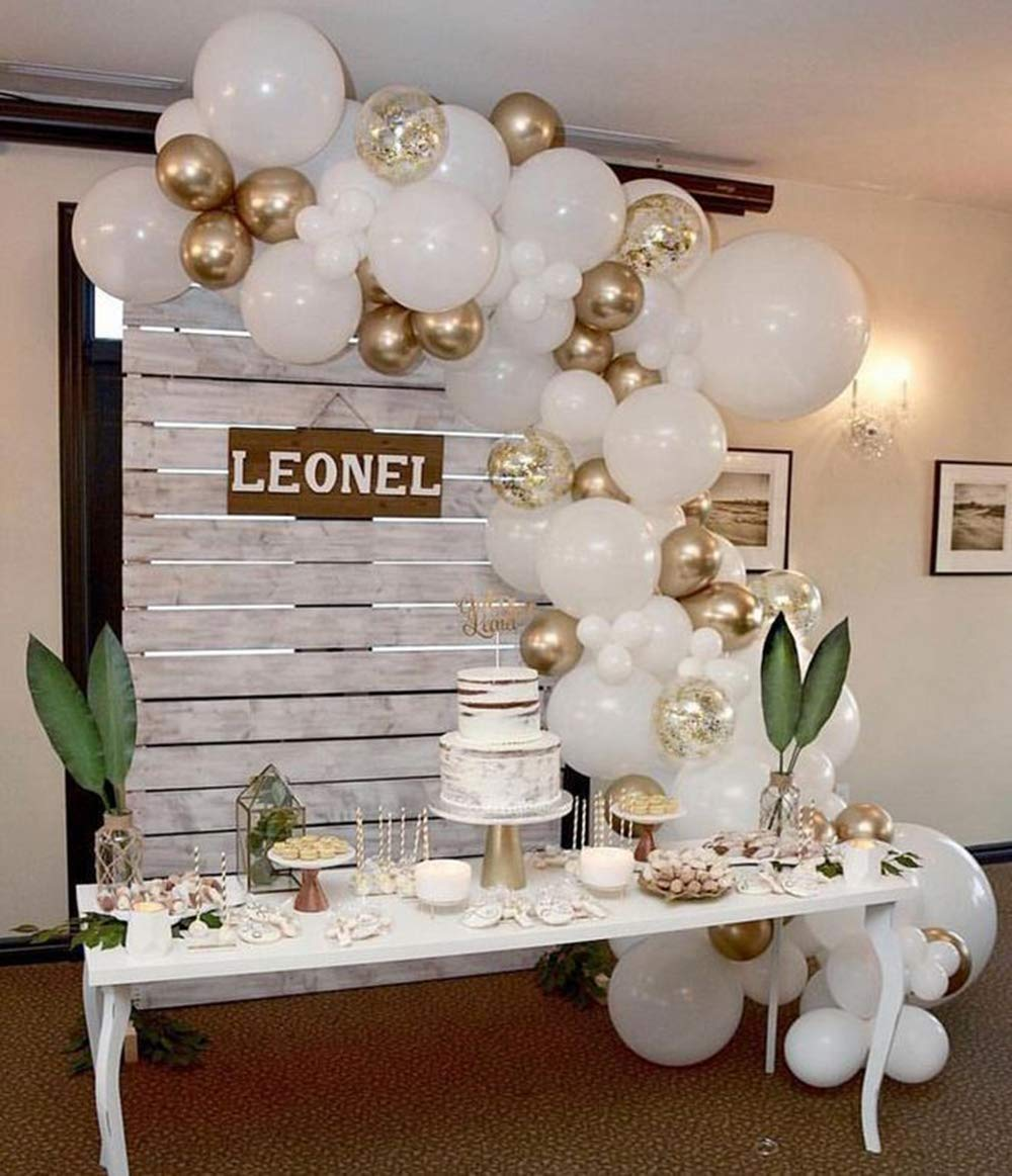 16 FT Pearl White & Golden Confetti Ballons Arch & Garland Kit, 94 Pcs White and Gold Latex Balloon Garland, Wedding Balloons, Balloons Baby Shower DIY Decorations