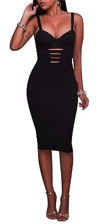 Women s Sexy V Neck Strap Hollow Out Back Bandage Clubwear Bodycon Party  Midi Dress Black M e5c763e6f