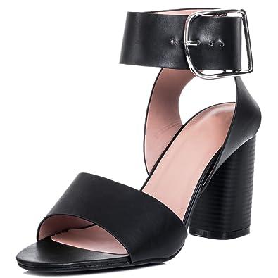 Spylovebuy STACEY Femmes à Talon Bloc Sandales Pointure Large - Noir Noir - Chaussures Sandale Femme