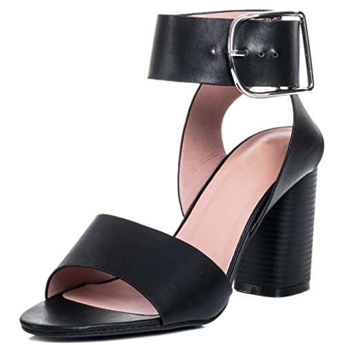 173a5d01cb5 Wide Fit Block Heel Sandals Shoes Black Leather Style Sz 5  Amazon.co.uk   Shoes   Bags