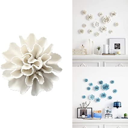 Alycaso Artificial Flowers Wall Decoration For Living Room Bedroom Hanging 3d Wall Art Ceramic Flower Pediments Sculpture White F6
