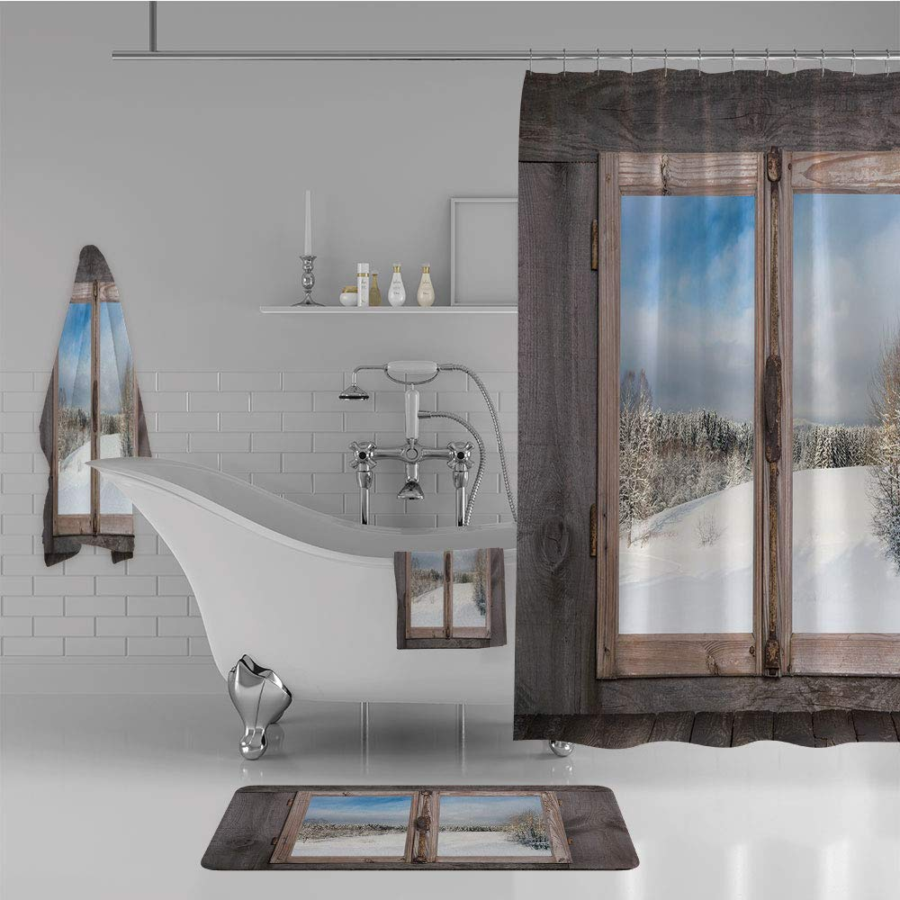 Bathroom 4 Piece Set Shower Curtain Floor mat Bath Towel 3D Print,a Wooden Window of Country House Snow Vintage,Fashion Personality Customization adds Color to Your Bathroom.