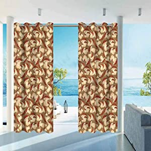 "ParadiseDecor Mushroom Indoor/Outdoor for Garden Drapes Porch Gazebo Curtains Grunge Harvest Farm 100"" W x 84"" L"