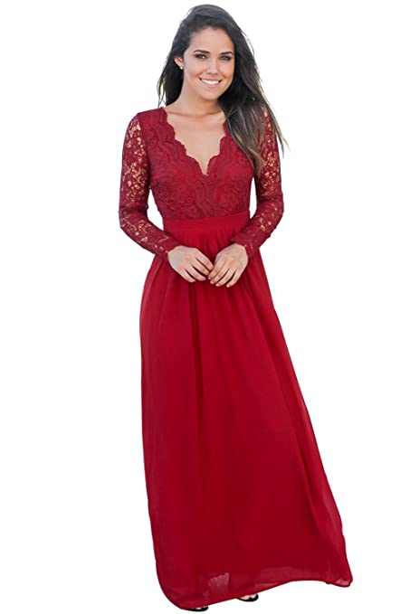 95f7661b6e9 New Wine Red Open Back Long Sleeve Crochet Lace Maxi Evening Dress Wedding  Party Wear Gown Prom Dress Size XL UK 14-16 EU 42-44  Amazon.co.uk  DIY    Tools