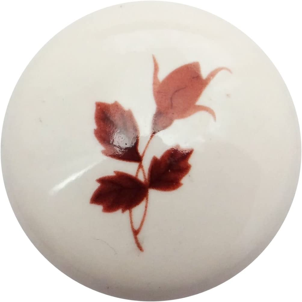 SO-TECH/® Porzellanknopf Kim Cremewei/ß mit Blattdekor /Ø 39 mm Porzellangriff