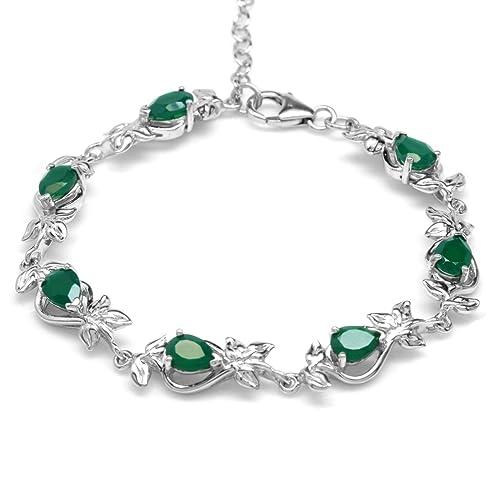 4.48ct. Natural Emerald Green Agate Gold Plated 925 Sterling Silver Leaf 6.75-8.25 Adj. Bracelet