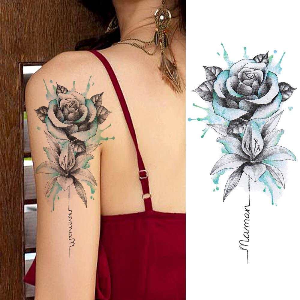 LAROI 10 Hojas 3D Citas De Loto Negro Tatuajes Temporales Flores ...