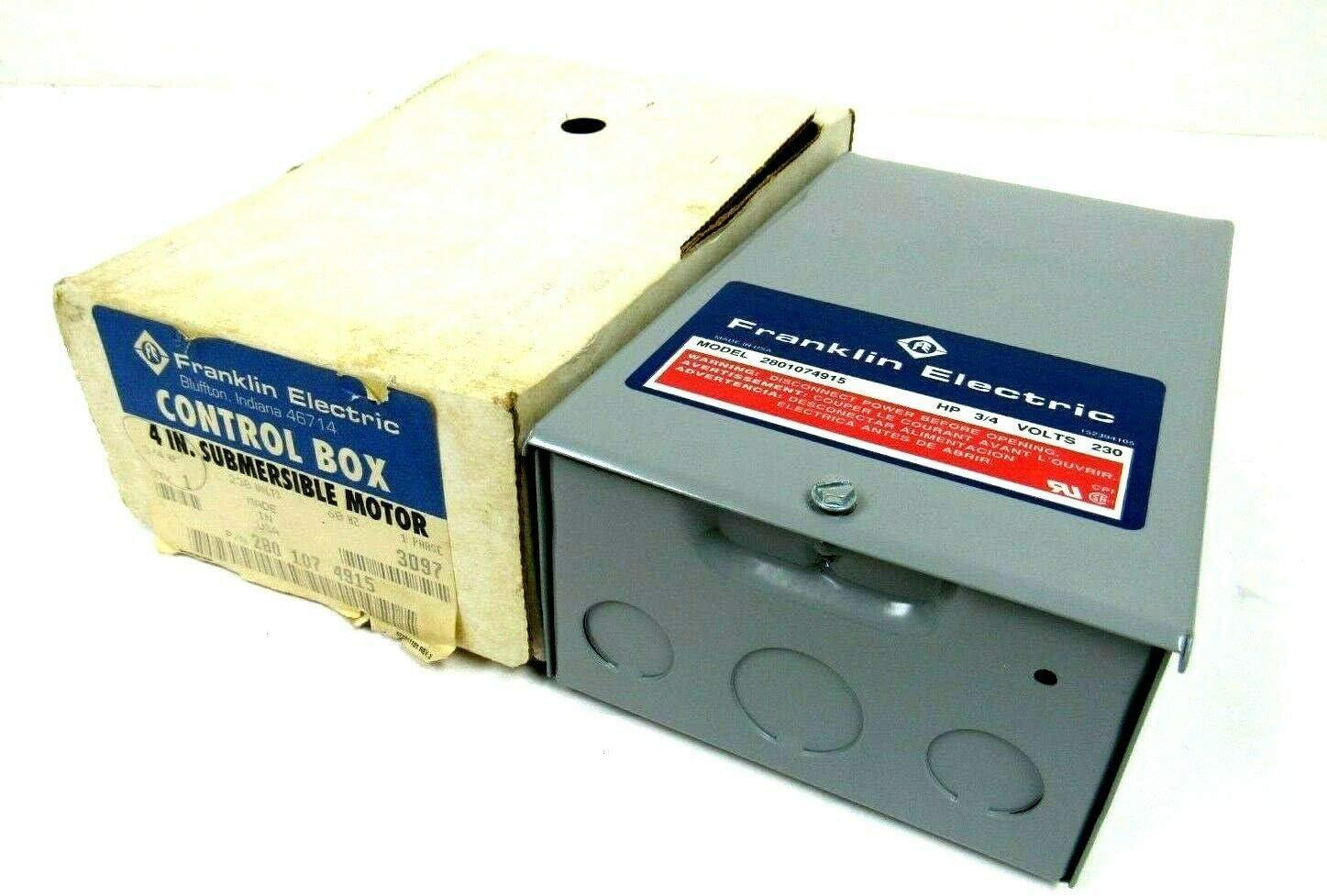 Control Box,3//4HP,230V,1Phase FRANKLIN ELECTRIC 2824075015