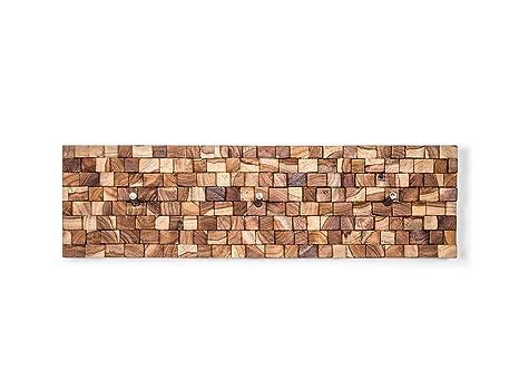Perchero de pared con diseño de piezas de madera de teca ...