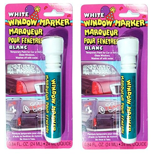 2 Pack - Window Markers - Temporary Paint for Car or Home Glass Windows (White)]()