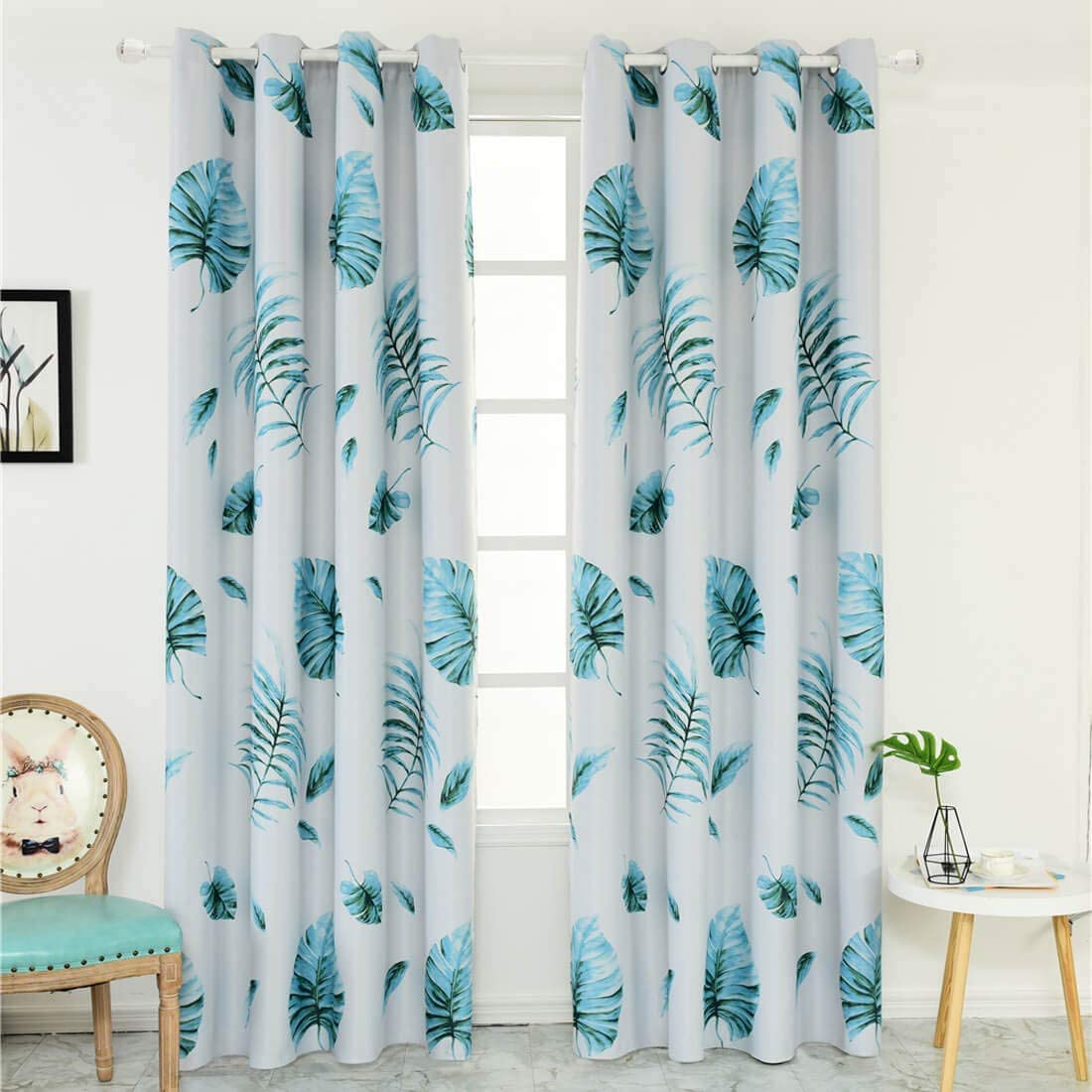 WUBODTI Leaf Blackout Window Door Curtains 2 Panels Room Darkening Thermal Insulated Window Treatments Grommet Drapes and Curtains for Bedroom Nursery Living Room 108 Inches Long,Tropical Banana Leaf
