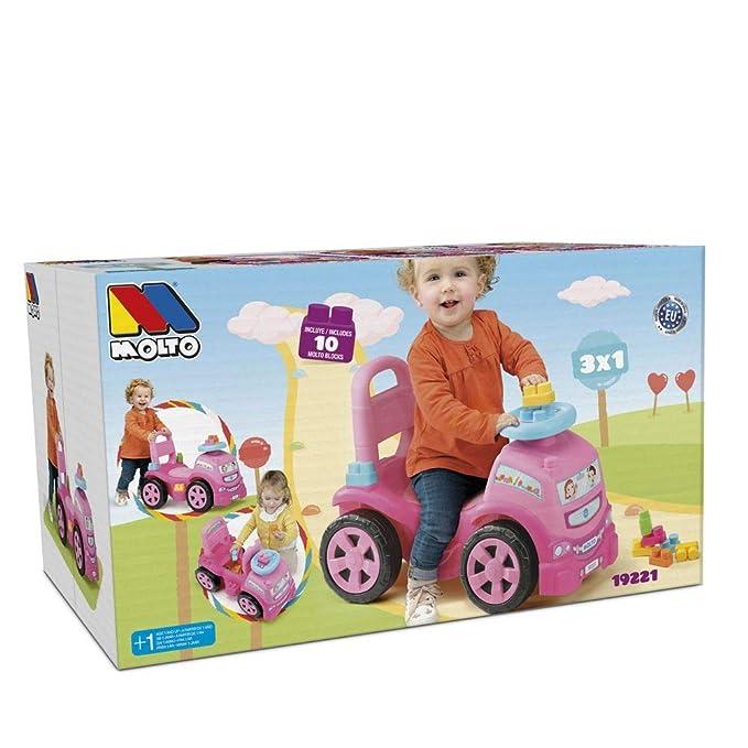 M MOLTO Correpasillos Camión 3 x 1 Rosa con 10 Bloques: Amazon.es ...