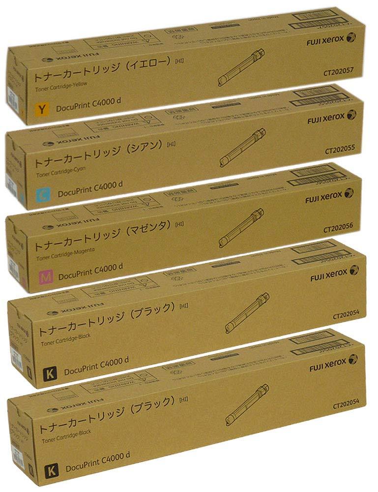 富士ゼロックス 純正品 CT202054 × 2本 / CT202055 / CT202056 / CT202057 トナーカートリッジ 5本セット (4色 + ブラック )大容量 DocuPrint C4000d (NC100439) 対応 B07PNLVGF9