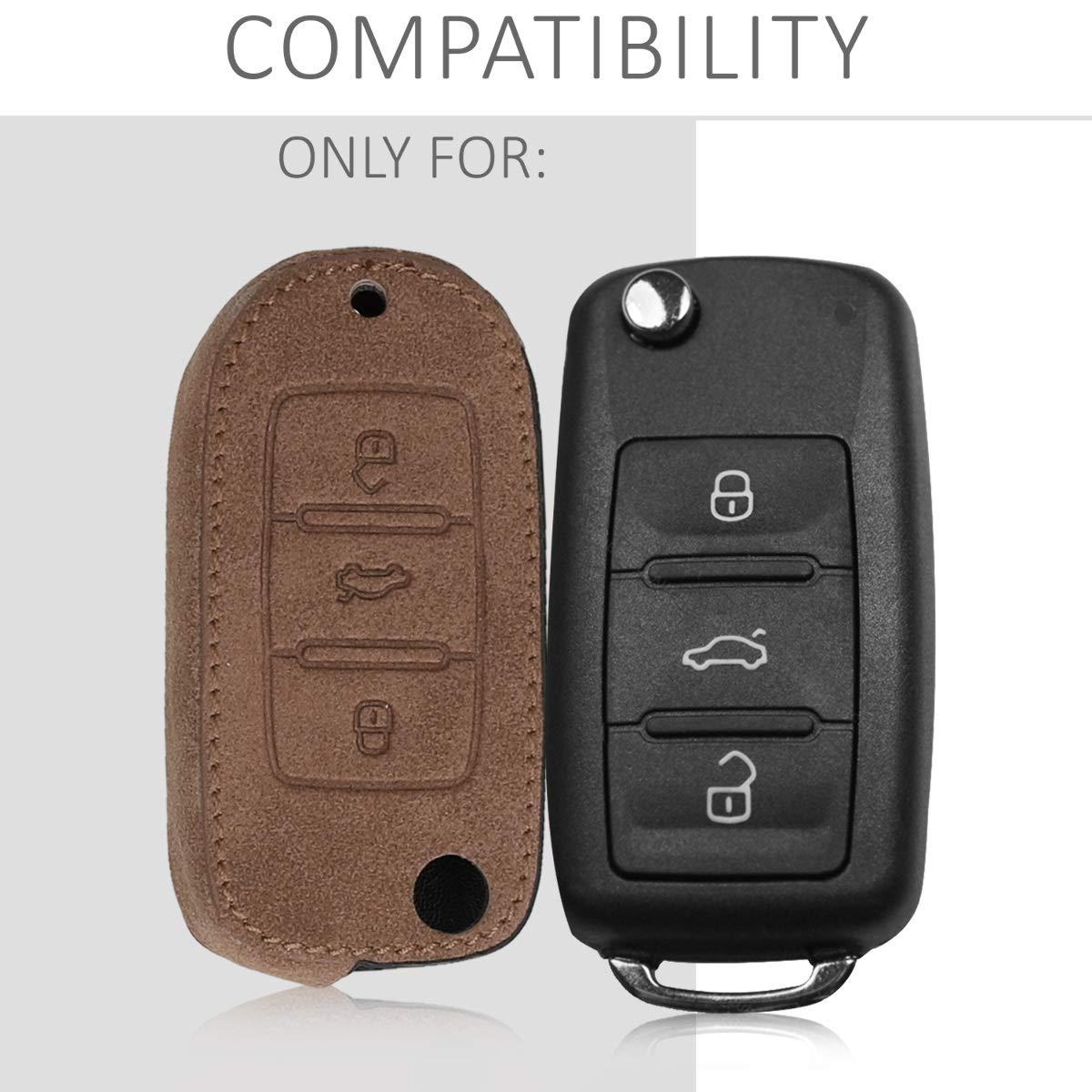 kwmobile Cover in Similpelle per Chiave VW Skoda Seat Guscio coprichiave Protettivo in Pelle PU per Chiavi Macchina Custodia Protezione per Chiave VW Skoda Seat con 3 Tasti