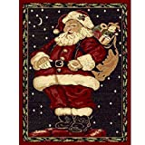Christmas Rug Holiday Décor Santa Claus Area Rug 3ft4in x 4ft6in + For Sale