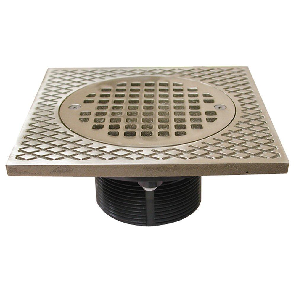 Jones Stephens, JS 3'' IPS Plastic Spud with 7'' Square Top and 5'' Nickel Bronze Round Strainer PVC - D56501