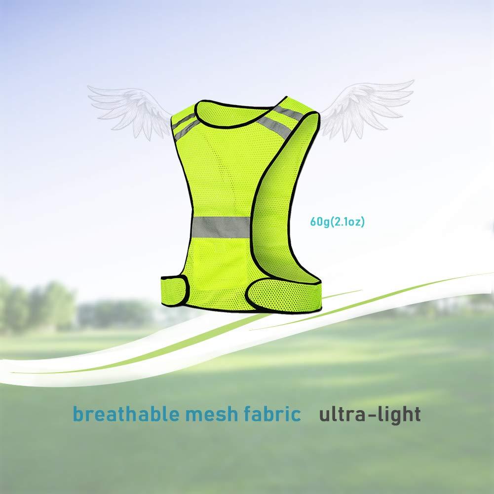 2 brazaletes, 1 Chaleco, 1 Bolsa GINGYI Chaleco Reflectante de Alta Visibilidad Ajustable 360 /° Visible