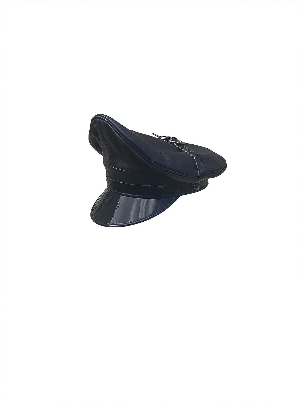 Full Black Real Cowhide Leather muir,Biker,Army,Police,Gay Cap