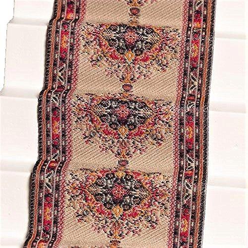 Melody Jane Dollhouse Woven Stair Carpet Runner Beige Orange 1:12 Flooring