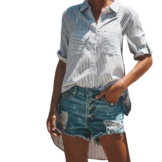 Camiseta Casual Mujer Sólida, Cuello V Manga Corta Blusa de Bolsillo Cómoda SunGren Sueltas(