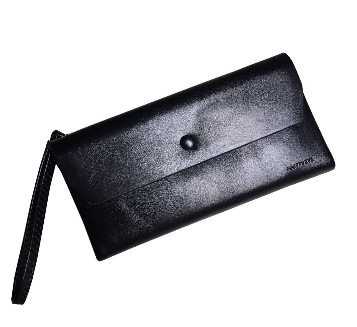 Rfid women's wallets ladies Leather Wristlet organizer with phone slot large capacity (Black2)