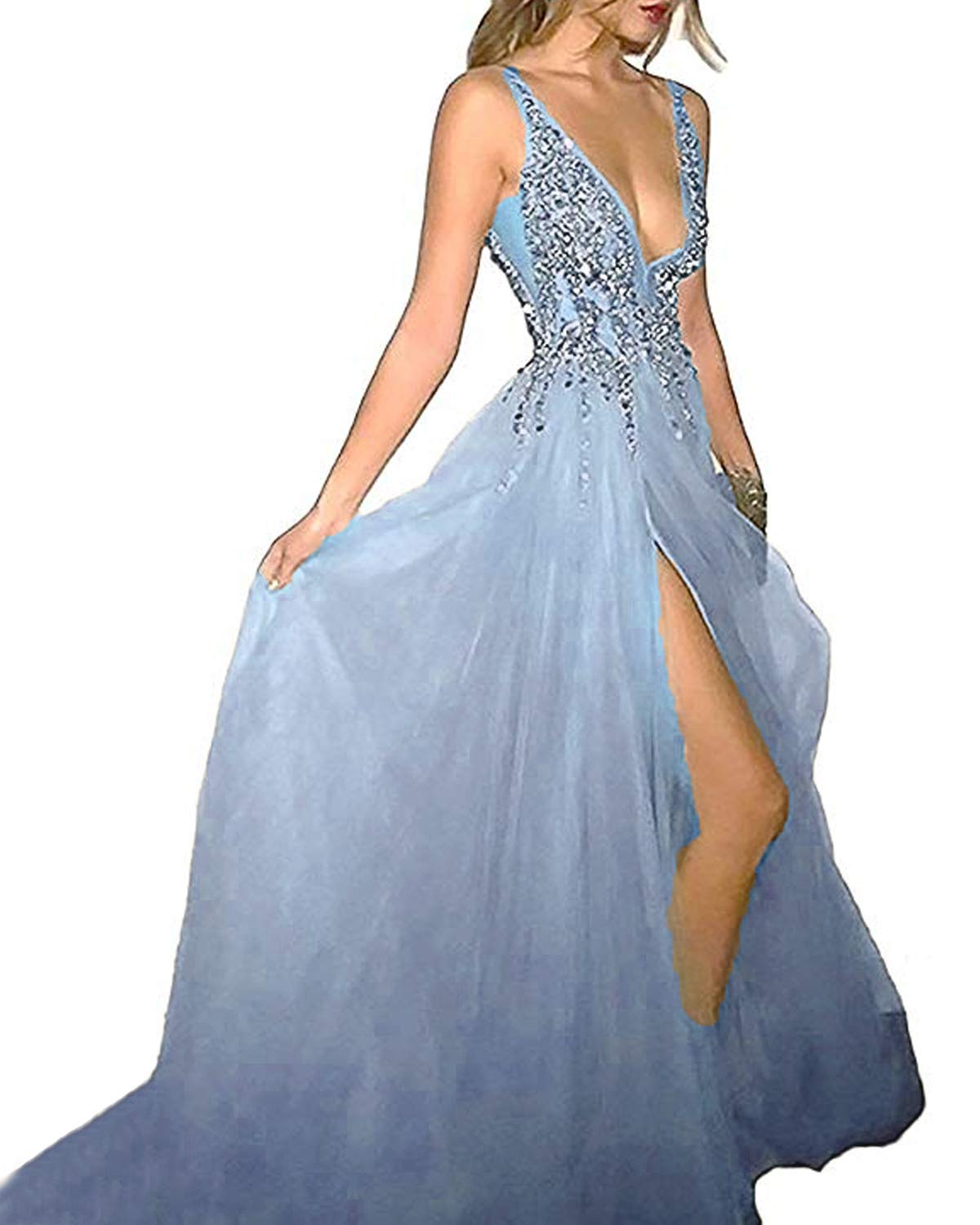 03fda20fab Alanre Women s Beaded Tulle Backless Sexy High Split Long Prom Evening  Dresses Sky Blue 8