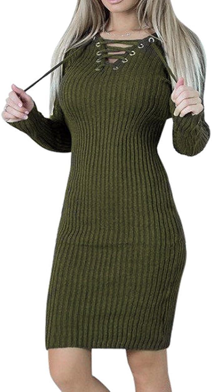 Goosuny Damen Winterkleider Einfarbig V-Ausschnitt Grobstrick  Pulloverkleider Kurze Wickelkleid Langarm Slim Enge Kleid Modische Elegante  Knielange