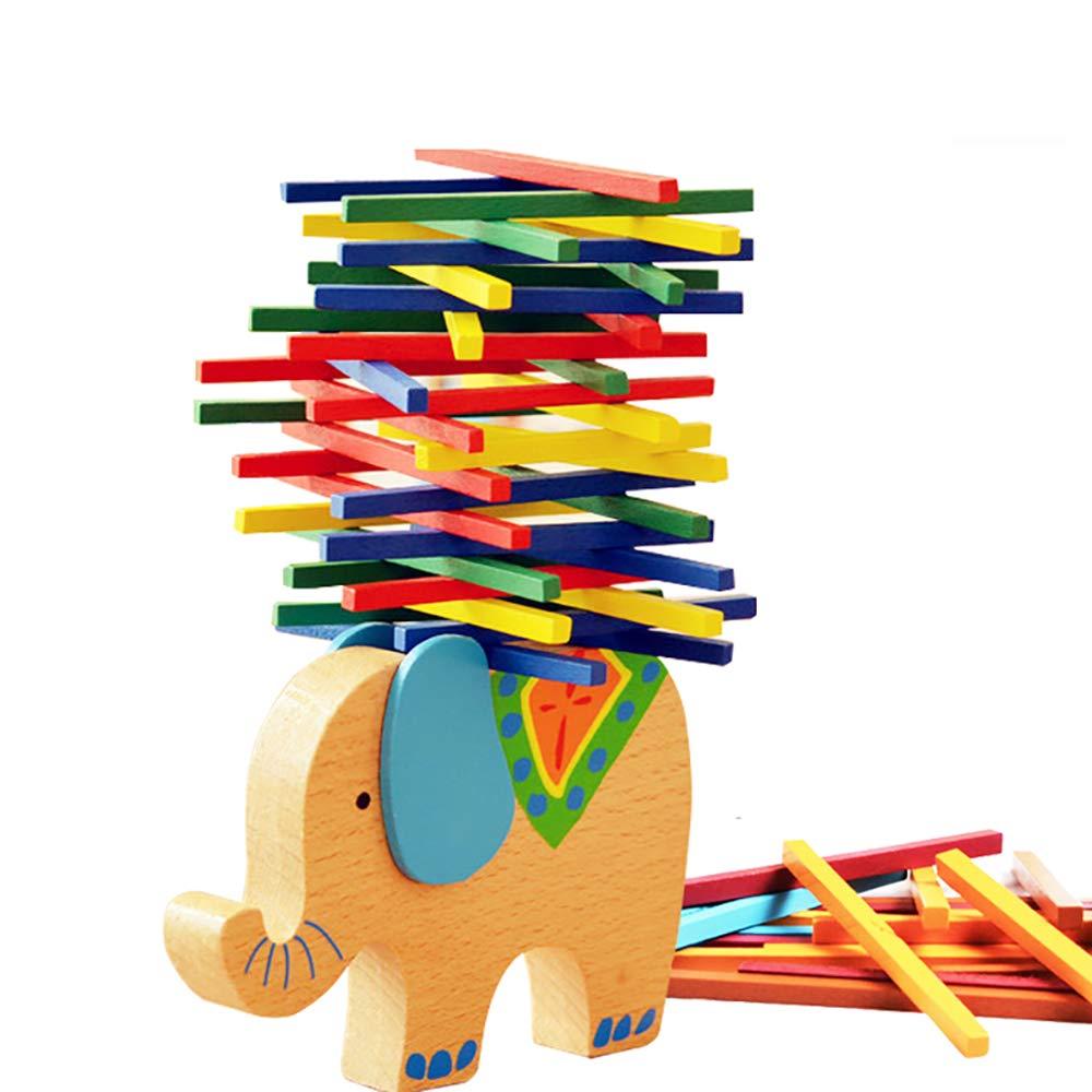 Lecimo Juguetes Educativos Bebé Bloques De Elefante De Madera De Juguete Juego De Equilibrio De Madera Montessori Bloques De Regalo para NiñOs
