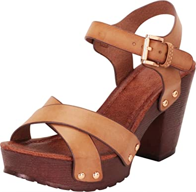 59d3c810ce5d Cambridge Select Women s Retro 70s Studded Clog Crisscross Strappy Chunky  Platform Block Heel Sandal