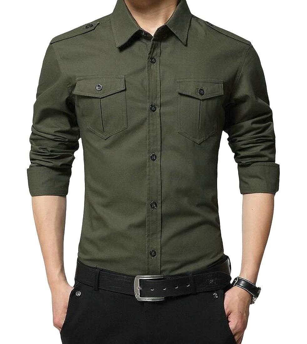 Pandapang Men Button Down Long Sleeve Cotton Slim Military Pure Colour Shirts
