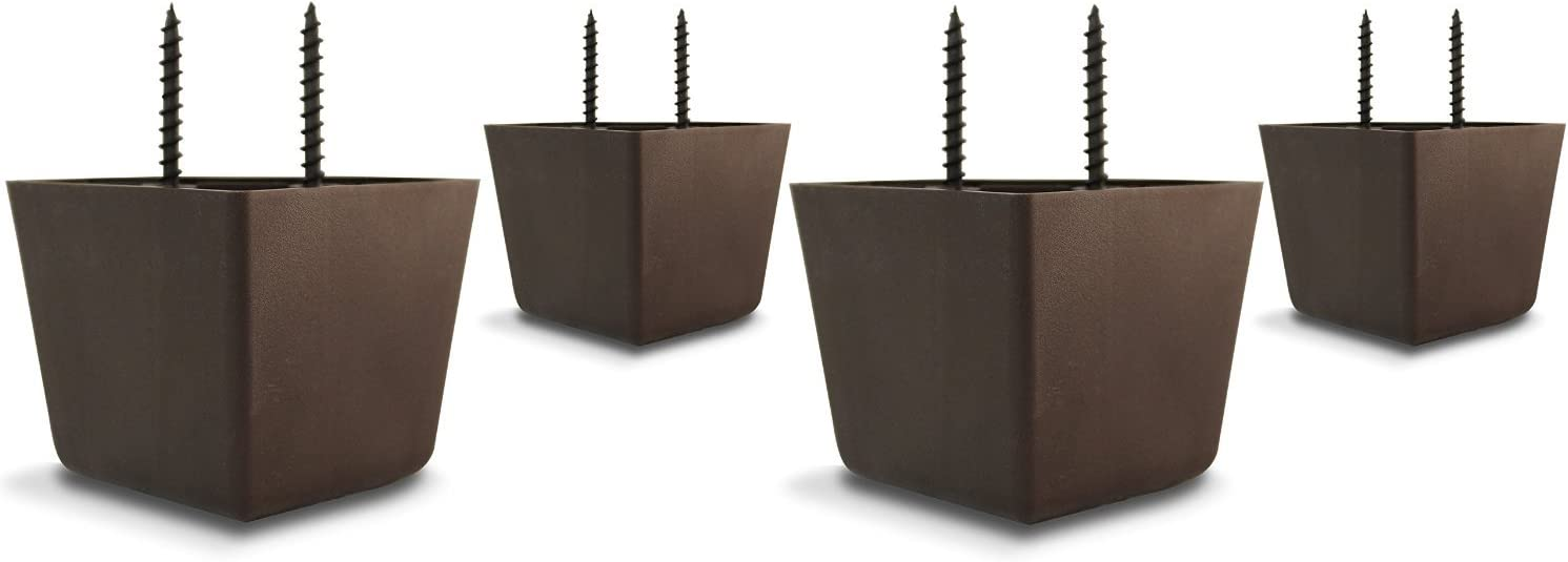 """2 1/4"""" Tall/High Universal HDPE Plastic Furniture Triangle Sofa/Couch/Chair Legs with Screws - Set of 4"""