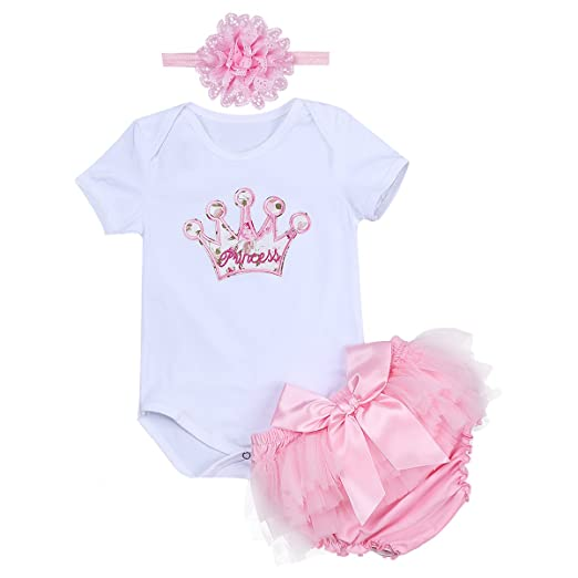 a0b8f5fc10dc Baby Girls  1st Birthday Tulle Tutu Set 3PCs Jumpsuit Skirt Dress up Romper  Outfits Headband Cake Smash Gown