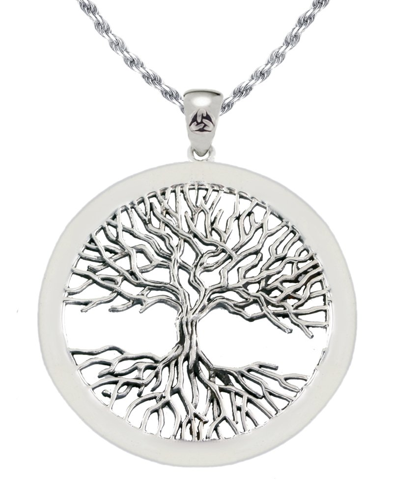 New Solid 0.925 Sterling Silver Mickie Mueller Wiccan Tree of Life Pendant 3.0mm Curb Necklace, 20''