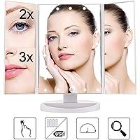 Miroir Pliable de Maquillage, Triple Miroir avec 21 LED, Miroir Lumineux Tactile, Miroir Normal + Miroir Zoomx2 + Miroir Zoom x3, Inclinable 180°
