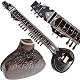 Sitar- Ravi Shankar Style- 7 Main String, 12 to 13 Sympathetic Strings, Tun Wood, Flat Back, Traveler Model, Gig Bag, Extra Strings, Few Mizrabs, With Pick-Up Easy To Connect with Guitar Amplifier...