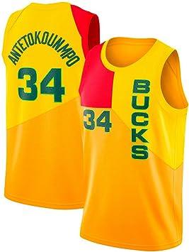 YIXUAN Hombre los de Camiseta Jersey Milwaukee Bucks #34 Giannis ...