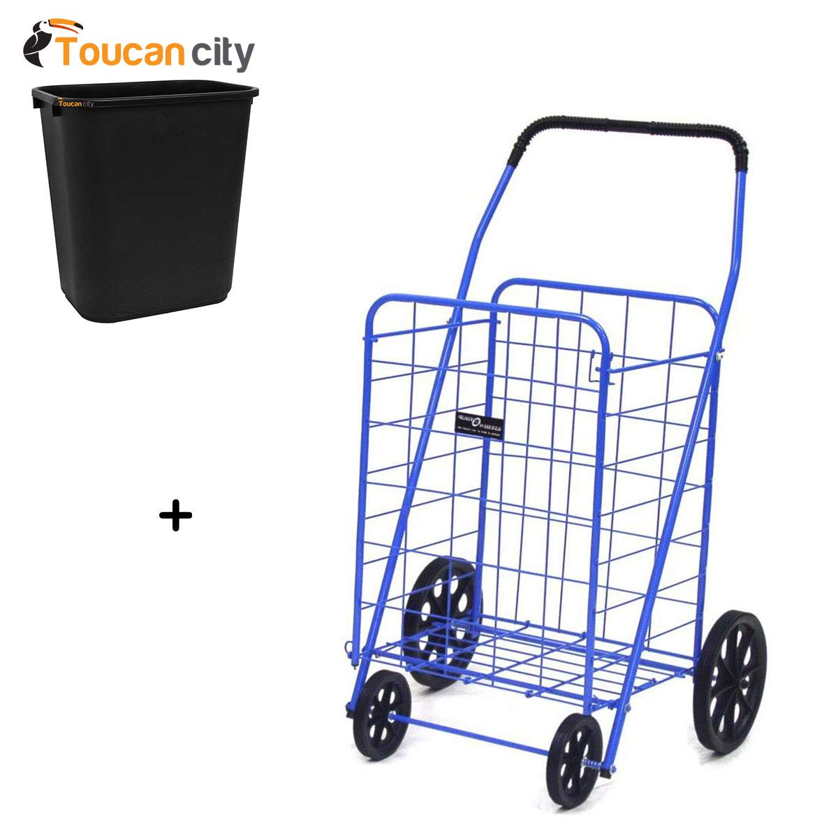 Toucan City 7 Gal Trash Can and Easy Wheels Jumbo-A Shopping Cart in Blue 011BL