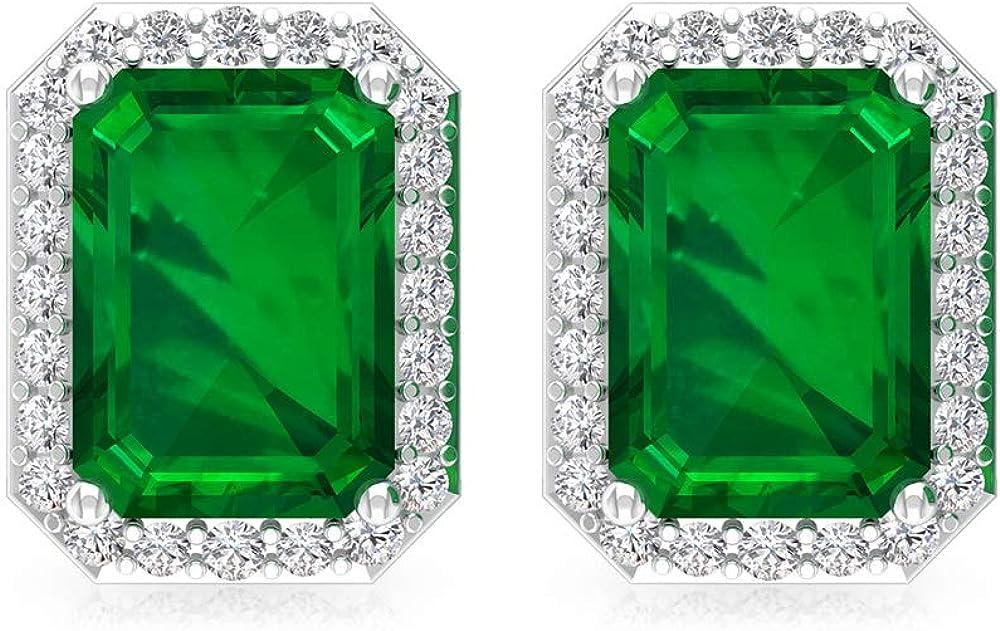 Pendiente de esmeralda de 1,8 ct creado en laboratorio, forma octogonal de piedra preciosa, certificado IGI, pendientes de boda de diamantes, IJ-SI, 14K Oro blanco, Par