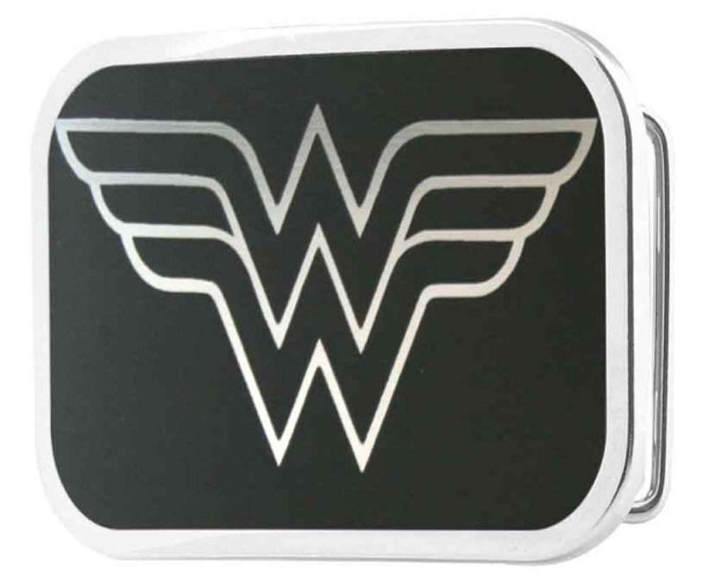 Wonder Woman DC Comics Superhero Black Logo Rockstar Belt Buckle Buckle Down