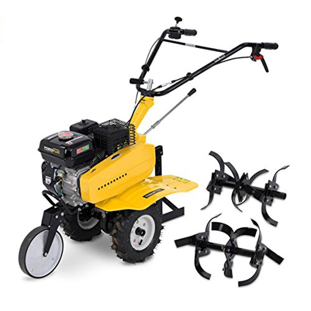 Cultivador y arado de gasolina 2 en 1 de Powerplus, 208 cc, con ruedas, marcha adelante y atrás, POWXG7217: Amazon.es: Jardín