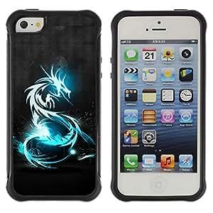 Be-Star único patrón Impacto Shock - Absorción y Anti-Arañazos Funda Carcasa Case Bumper Para Apple iPhone 5 / iPhone 5S ( Blue Shine Tribal Dragon )